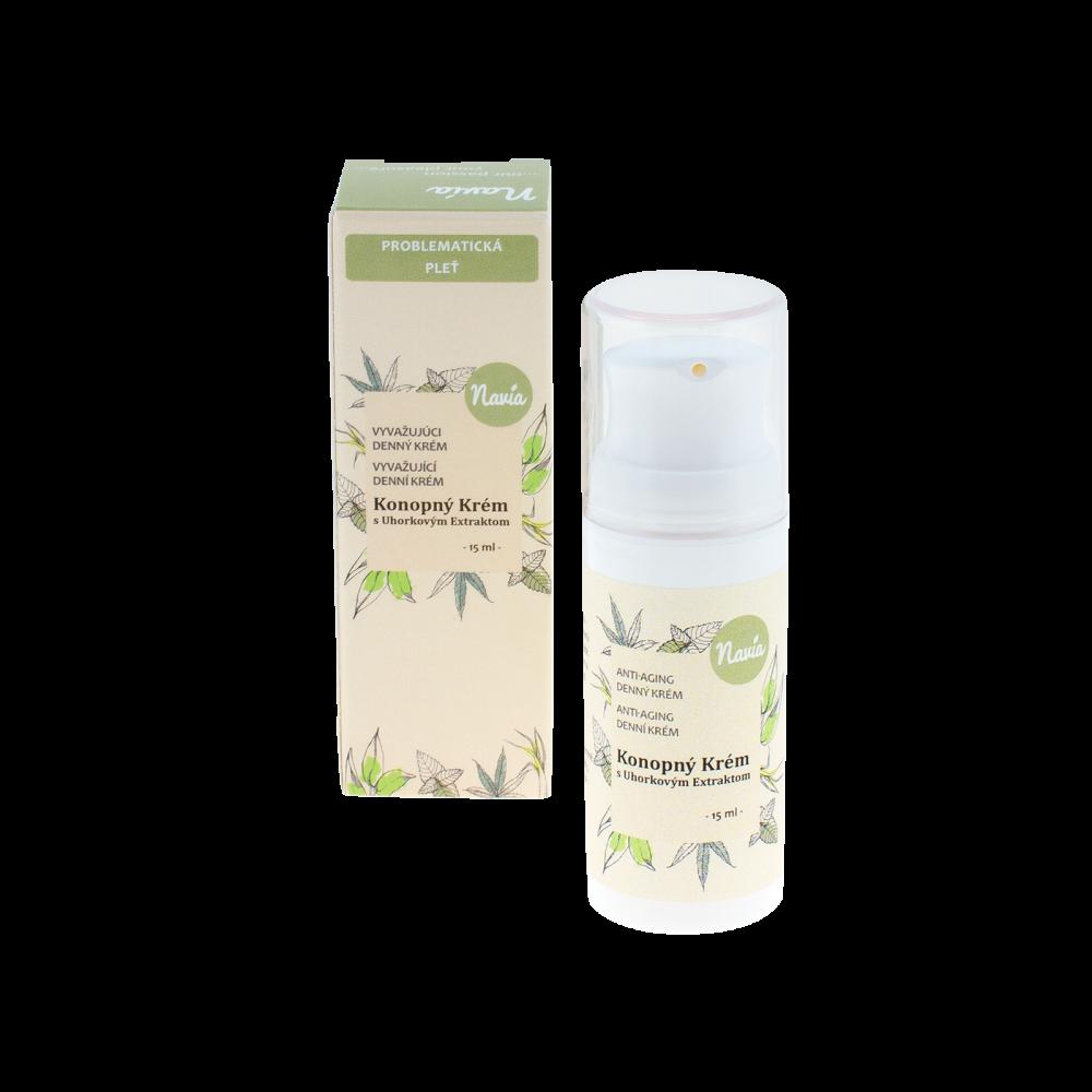 NAVIA Denní Krém Na Mastnou/Problematickou Pleť Konopný krém s okurkovým extraktem Objem 15 ml